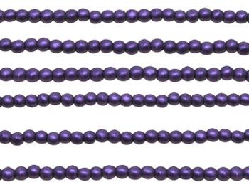 Czech Glass 2mm Round -- Metallic Suede Purple