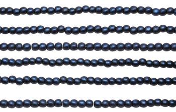 Czech Glass 2mm Round -- Metallic Suede Dark Blue
