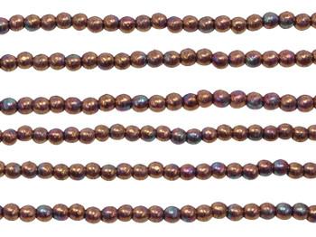 Czech Glass 2mm Round -- Oxidized Bronze Berry