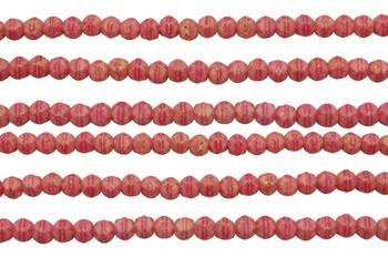 Czech Glass 3mm English Cut Round -- Pacifica Strawberry