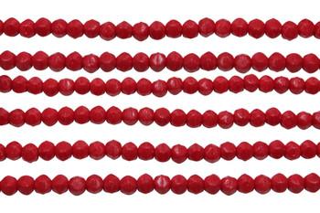 Czech Glass 3mm English Cut Round -- Opaque Red