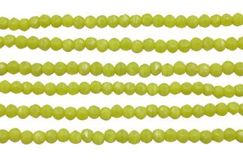 Czech Glass 3mm English Cut Round -- Chartreuse