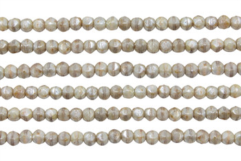 Czech Glass 3mm English Cut Round -- Luster Opaque Picasso