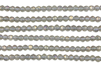 Czech Glass 3mm English Cut Round -- Luster Iris Black Diamond