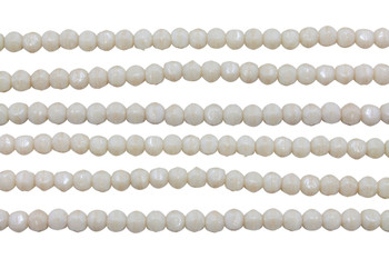 Czech Glass 3mm English Cut Round -- Luster Opaque Champagne