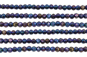 Czech Glass 3mm English Cut Round -- Blue Iris
