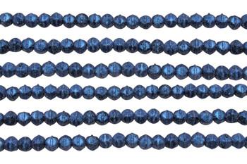 Czech Glass 3mm English Cut Round -- Metallic Blue Suede