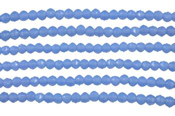 Czech Glass 3mm English Cut Round -- Milky Sapphire