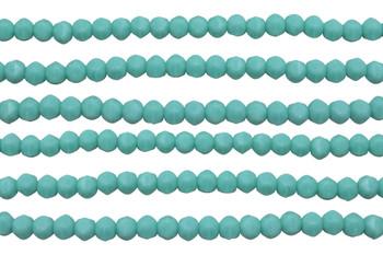 Czech Glass 3mm English Cut Round -- Matte Turquoise