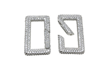 Silver Micro Pave 18x34mm Rectangle Carabiner
