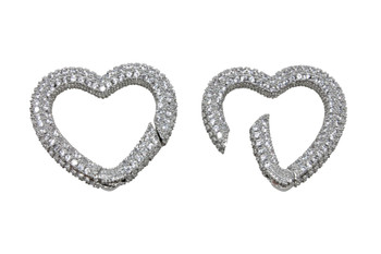 Silver Micro Pave 28x27mm Heart Carabiner