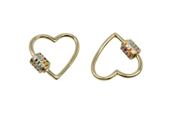 Gold Micro Pave 21mm Multi Color Heart Carabiner