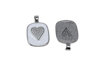 Silver Micro Pave 17x20mm Enamel Heart Pendant