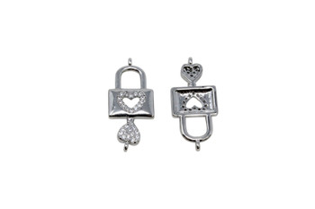 Silver Micro Pave 11x24mm Heart Lock Charm