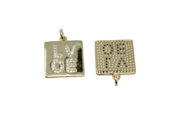 Gold Micro Pave 15mm LOVE Square Charm
