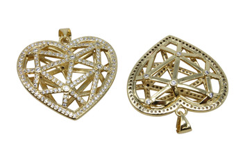 Gold Micro Pave 25x29mm Heart Cage Pendant