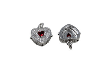 Silver Micro Pave 10x14mm Red Heart Pendant