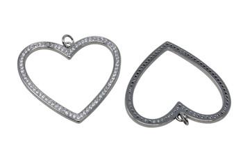 Silver Micro Pave 32x35mm Open Heart Pendant