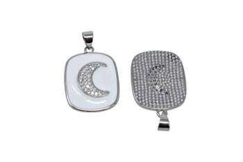 Silver Micro Pave 17x20mm Enamel Moon Pendant