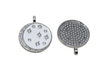 Silver Micro Pave 24mm Enamel Stars & Moon Pendant
