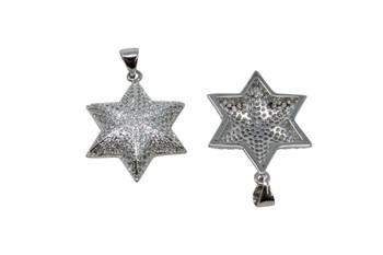Silver Micro Pave 20x22mm Cushion Star Pendant