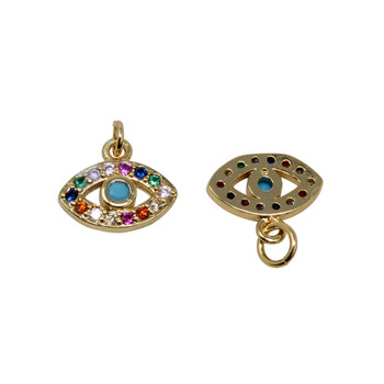 Gold Micro Pave 12x7mm Evil Eye Charm - Multi Color