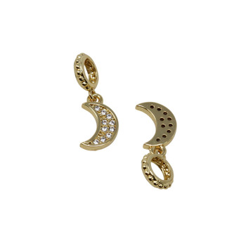 Gold Micro Pave 6x10mm Moon with Ring Charm
