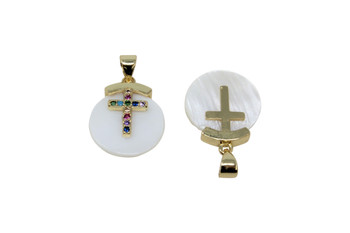 Mother of Pearl Gold Micro Pave Multi Color Cross Charm