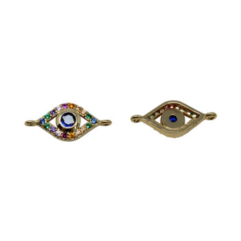 Gold Micro Pave 7x11mm Multi Color Evil Eye Link