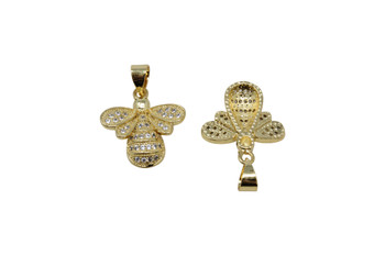 Gold Micro Pave 16x14mm Bee Pendant