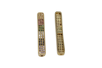 Gold Micro Pave 5x36mm Tube Bead