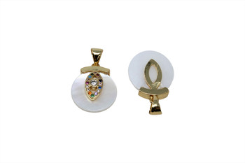 Mother of Pearl Gold Micro Pave Multi Color Evil Eye Charm