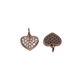 Rose Gold Micro Pave 9mm Heart Charm