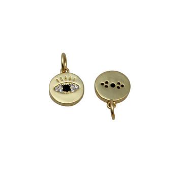 Gold Micro Pave 9mm Matte Evil Eye Charm