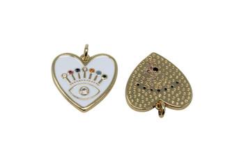 Gold Micro Pave Enamel Heart / Evil Eye Pendant