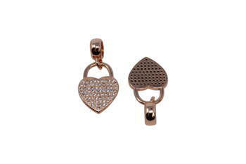 Rose Gold Micro Pave 13x25mm Heart Lock with Bail Charm