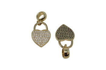 Gold Micro Pave 13x25mm Heart Lock with Bail Charm
