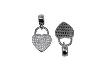 Rhodium Micro Pave 13x25mm Heart Lock with Bail Charm