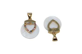 Mother of Pearl Gold Micro Pave Multi Color Heart Charm