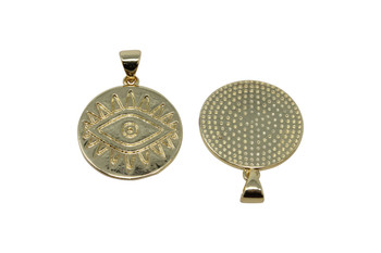 Gold Evil Eye 18mm Plated Disc Charm