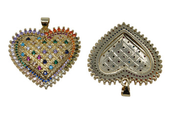 Gold Micro Pave 30mm Rainbow Heart Pendant