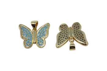 Gold Micro Pave 15x19mm Blue Butterfly Pendant