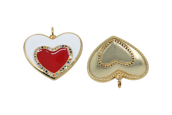 Gold Micro Pave 25mm Enamel Heart Pendant