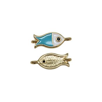 Blue 14x6mm Enamel Fish Link - Gold