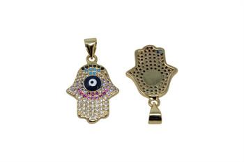 Gold Micro Pave Multi Color Evil Eye Hamsa Pendant