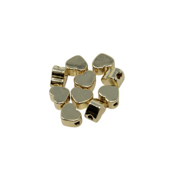 14kt Gold Plated 5x3mm Heart Bead - Package of 10