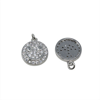 Silver Micro Pave 13mm Smile Charm