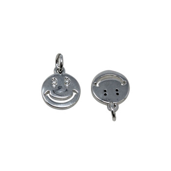 Silver Micro Pave 10mm Smile Charm