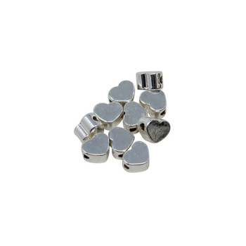 Sterling Silver Plated 5x3mm Heart Bead - Package of 10