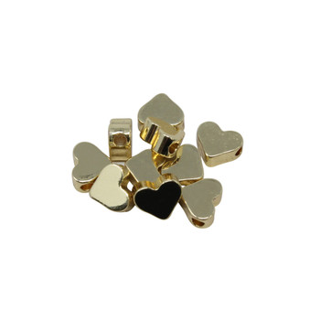 14kt Gold Plated 3x7mm Heart Bead - Package of 10